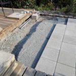 Badezuber Hottub Vikatub mit Innenwanne aus GFK mit externem Ofen aus Aluminium Douglasieholz Terrassenbau für Einbaubadezuber Vorbereitung Untergrund